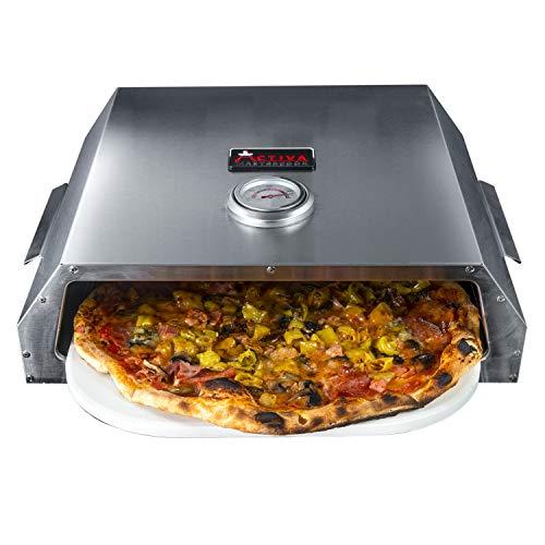 ACTIVA Pizza Box 2020, Edelstahl Pizzaaufsatz ca. 44,5 x 13 x 35,5 cm, BBQ-Pizzaofen mit Temperaturanzeige für Holzkohlegrills und Gasgrills, Pizzaofen mit Pizzastein ca. 33,5 x 27,5 cm