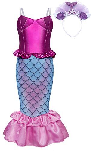 AmzBarley Meerjungfrau Kostüm Kleid Kinder Mädchen Kostüme Prinzessin Kleider Karneval Halloween Cosplay Kleid Geburtstag Party Ankleiden,Rosa+027,3-4 Jahre,110