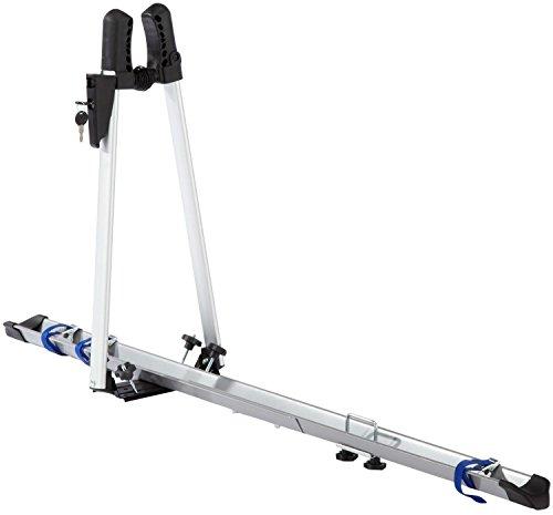 FISCHER Auto Dach Fahrradträger | TÜV GS geprüft | geeignet für ein Fahrrad | Beladung bis 15 kg | abschließbar | silber