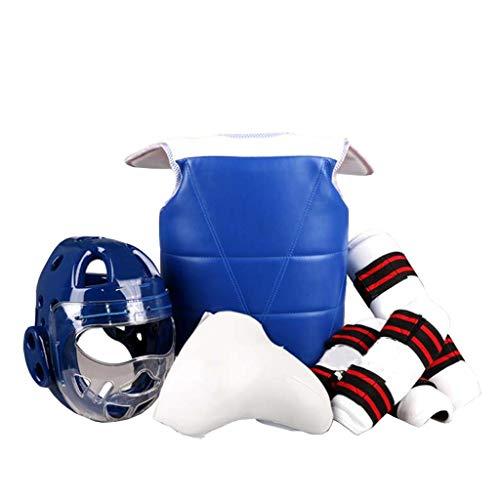 JXS-Outdoor Beschermers Karate Protektoren 5Pc Set - Kopfschutz, Brustschutz, Unterarmschutz, Tiefschutz,Blau,L