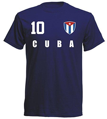 Kuba WM 2018 T-Shirt Fußball Trikot Sport - Navy ALL-10 - S M L XL XXL (L)
