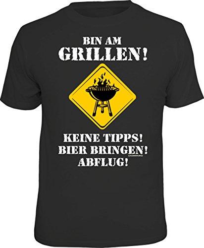 Männer Geschenk BBQ T-Shirt für Griller: Bin am Grillen, Keine Tipps, Schwarz, XL