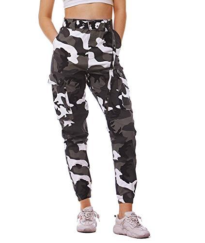Fanient Damen Hosen Camouflage Jogginghose Sporthose Workwear Uniform Combat Cargo Relaxed-Fit Multi Taschen Freizeithose Military Sicherheitshose mit Gürtel (Farbe 1, XS)