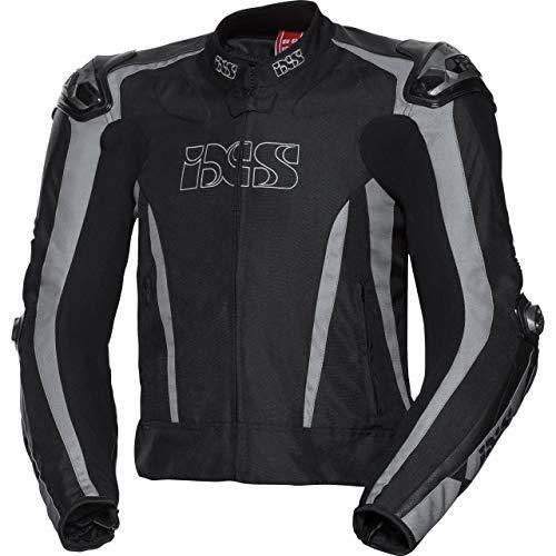 IXS Motorradjacke mit Protektoren Motorrad Jacke Sport Leder-/Textiljacke RS-1000 schwarz/grau 50, Herren, Sportler, Ganzjährig, Leder/Textil