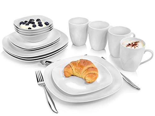 Tafelservice Bilgola 16 teiliges Geschirr-Service für 4 Personen aus Porzellan, Speise-, Dessertteller, Schalen und Tassen, erweiterbar, Alltag, besonderes Dinner, Outdoor Teller Set von Sänger