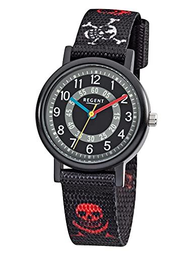 Regent Kinder-Armbanduhr Elegant Analog Textil-Armband schwarz rot weiß Quarz-Uhr Ziffernblatt schwarz grau URF950