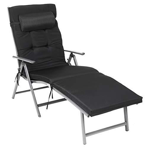 SONGMICS Sonnenliege, klappbar, Liegestuhl mit 6 cm Dicker Matratze, abnehmbares Kopfkissen, aus rostfreiem Aluminium, atmungsaktiv, komfortabel, verstellbar, bis 150 kg belastbar, schwarz GCB24BK