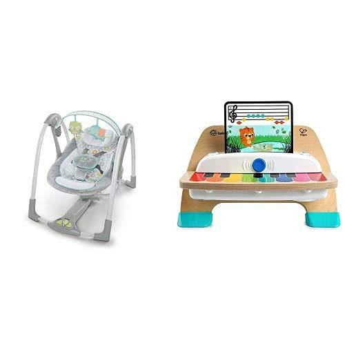 Ingenuity, Babyschaukel mit 5 Schaukelgeschwindigkeiten, Spielzeugbügel + Baby Einstein Hape Magic Touch Piano Musikspielzeug Klavier aus Holz, mit 3 Notenblättern und 6 Liedern, ab 12 Monaten