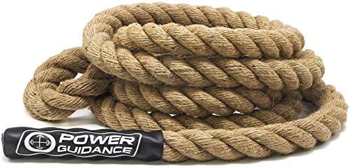 POWER GUIDANCE Kletterseil, Manila Kletterseil, Climbing Rope 3.8cm Durchmesser, Keine Halterung benötigt, Länge verfügbar: 4.5, 6, 7.5, 9, 10.5, 12, 15 Meter
