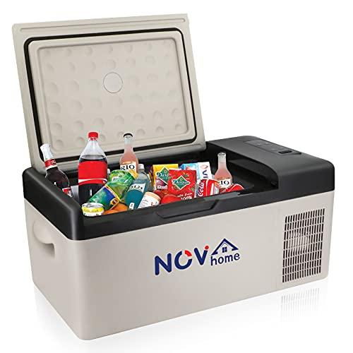 Novhome 15 l Auto-Kühlschrank und Gefrierschrank, 12 V Kompressor, tragbarer Mini-Kühlschrank, elektrische Kühlbox für Outdoor-Reisen, Camping und Zuhause