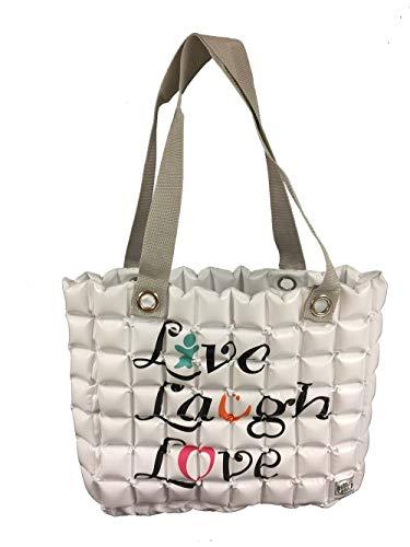 GFF Grass Flip Flops Bubble Bags Aufblasbare Tragetasche, Live Laugh Love, Weiß