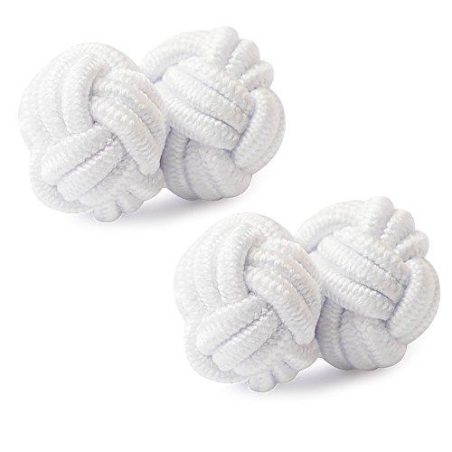 HONEY BEAR 1 Paar Herren/Damen Seide Stoff Knoten Seidenknoten Manschettenknöpfe für Hemd/Kleid zum (Weiß)