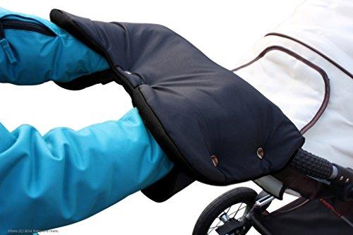 ByBUM - Handwärmer, Muff mit Fleece Innenseite, Universalgröße für Kinderwagen, Buggy, Radanhänger, Farbe:Schwarz