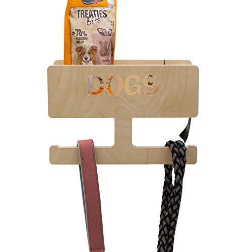 INEXTERIOR Hundegarderobe aus Birkenholz - personalisierbar Deutschland gefertigt - Garderobe für Hundeleinen