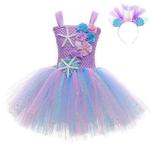 FONLAM Prinzessin Meerjungfrau Kleid für Mädchen Tutu Kleid Geburtstage Party Karneval Mädchen (3-4 Jahre, Lila)