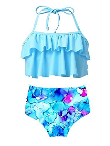 renvena Mädchen Bikini Set Regenbogen Badeanzug Streifen Tankini Set Rüschen Oberteil mit Slip Zweiteiliger Bademode Beachwear T Blau 134-140