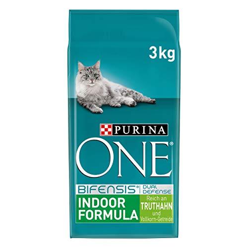 PURINA ONE BIFENSIS INDOOR FORMULA Katzenfutter trocken für Hauskatzen, reich an Truthahn, 4er Pack (4 x 3kg)