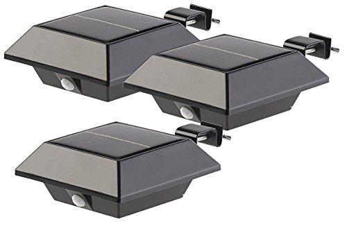 Lunartec Dachrinnenlampen: Solar-LED-Dachrinnenleuchte, 160 lm, 2 W, PIR-Sensor, schwarz, 3er-Set (LED Dachrinnenbeleuchtung)