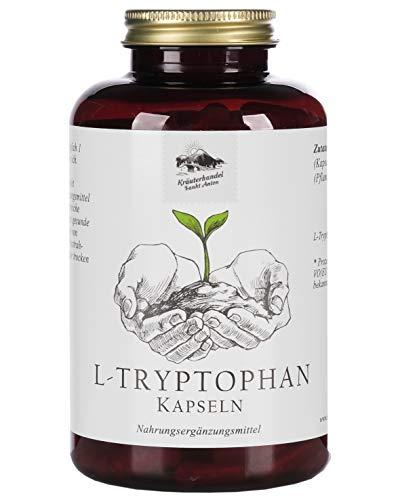 KRÄUTERHANDEL SANKT ANTON® L-Tryptophan Kapseln - 500mg L-Tryptophan - Hochdosiert - Vegan, Laktose- und Glutenfrei - Deutsche Premium-Qualität (240 Kapseln) (240)