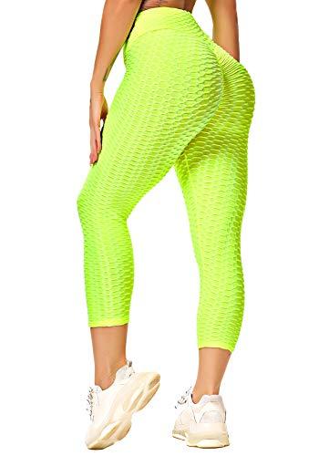INSTINNCT Damen Capris Slim Fit Hohe Taille Lange 3/4 Leggings mit Bauchkontrolle Fitnesshose Sporthose Neon-gelb X-Large