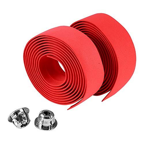 VGEBY1 Fahrrad Lenkerband, 2Pcs Rennrad Lenkerband Lenker Wraps mit Endkappen Multicolor Handlebar Tape(Rot)