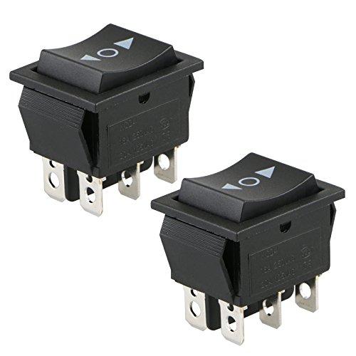 2 Pack 6 poliger SPDT 20 Ampere Moment Wippschalter, zweipoliger Doppelwurf, für Auto Motorradboote oder andere Haushaltsgeräte