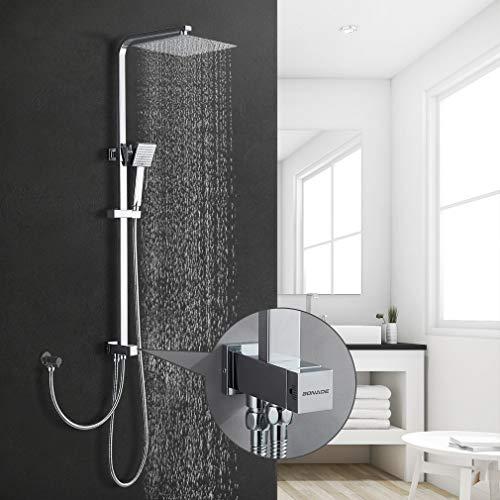 BONADE Regendusche Duschsystem ohne Armatur, Kopfbrause aus 304 Edelstahl inkl. verstellbare Duschstange Handbrause Duschsäule für Badezimmer Dusche (Duschset mit Duschkopf eckig 24,8x24,8cm)