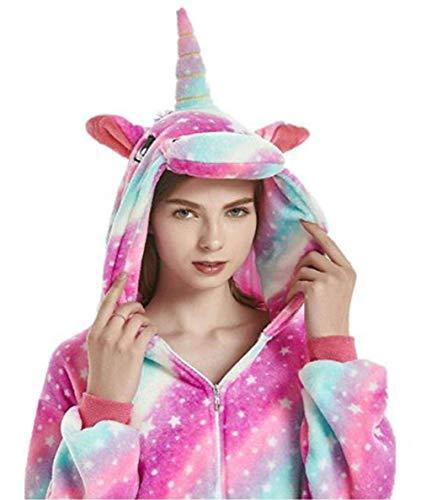 JXUFUFOO Erwachsene Jumpsuit Schlafanzug Einhorn Tierkostüm für Halloween Karneval Fasching Herren Damen,Star,XL(Höhe 1,78m-1,91m)