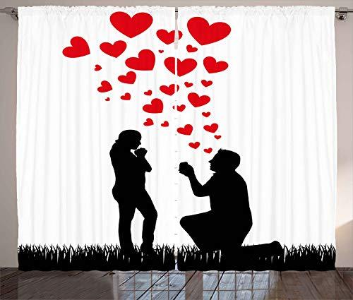 ABAKUHAUS Hochzeit Rustikaler Gardine, Vorschlag Herzen, Schlafzimmer Kräuselband Vorhang mit Schlaufen und Haken, 280 x 245 cm, Weiß Schwarz und Rot