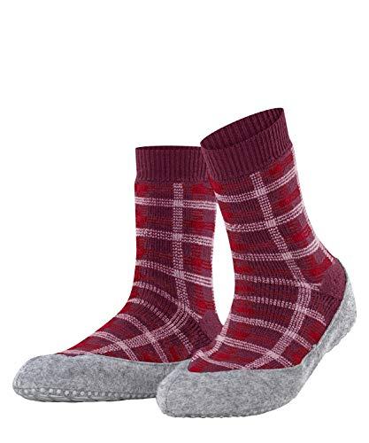 FALKE Damen Cosyshoe Checked W HP Hausschuh-Socken, Rosa (Hibiscus 8695), 39-40