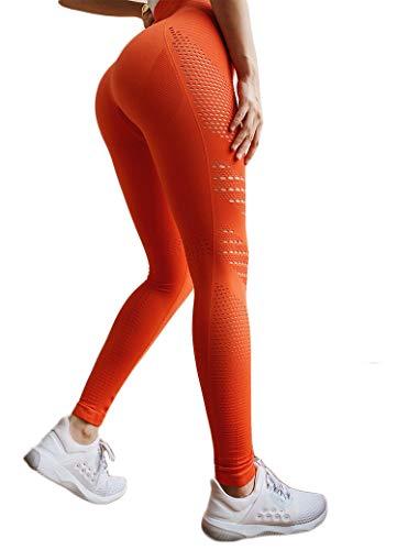 INSTINNCT Damen Yoga Lange Leggings Slim Fit Fitnesshose Sporthosen #5 Ventilationslöcher Stil - Orange M