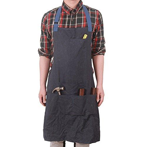 Arbeitsschürze Herren,Robuste Werkzeugschürze für Männer, Arbeitsschürze mit 6 Werkzeugtaschen für Küche, Garten, Keramik, Werkstatt, Garage und mehr