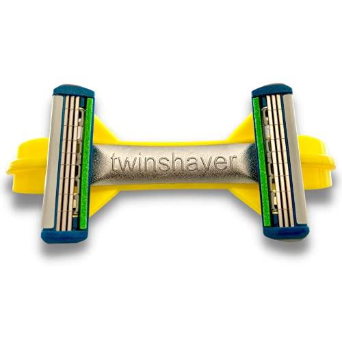 twinshaver Glatzen Rasierer + 4 Ersatzklingen, Schnittschutz & 80% Zeitersparnis, Körper & Kopfrasierer, Nassrasierer 0,0mm Herren & Damen (Gelb)