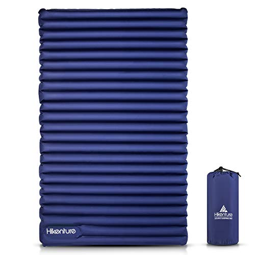 HIKENTURE Camping Isomatte Ultraleicht, Doppel Isomatte Aufblasbar für 2 Personen, Luftmatratze Schlafmatte Kleines Packmaß mit Fußpumpe, für Camping, Reise, Outdoor, Wandern, Strand, Navyblau