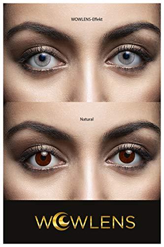WOWLENS Sehr stark deckende und natürliche graue Kontaktlinsen farbig BEVERLY HILLS GREY + Behälter I 1 Paar (2 Stück) I DIA 14.00 I 0.00 Dioptrien I ohne Stärke