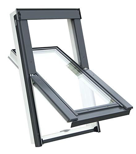 Kunststoff Dachfenster Balio Schwingfenster mit Eindeckrahmen und Rollo (Verdunkelungsrollo) 78x112 cm (VKR Konzern Rooflite Velux) wie 78x118cm