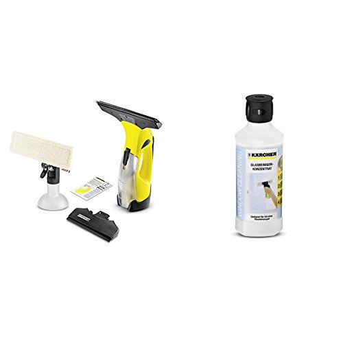 Kärcher Akku Fenstersauger WV 5 Premium mit wechselbarem Akku inkl. Zubehör + Glasreiniger Konzentrat RM 500, 500 ml