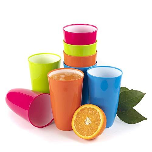 Maxi Nature Kitchenware Plastikbecher mehrweg Kunststoff-Becher, Bunte Becher, Trinkbecher als hochwertiges Campinggeschirr oder als Kinderbecher aus Plastik Tassen, unzerbrechlich 0,65 l - 8er Set