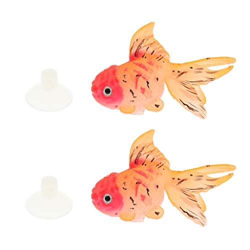 FLAMEER 2 Stück Silikon Goldfische Bewegliche Schwimmende Fische Aquarium Dekoration - Typ 3