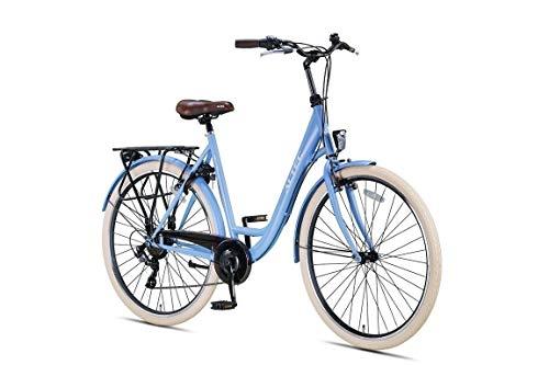 28 Zoll Damen Mädchen City Trekking Fahrrad Rad Bike Damenrad Cityfahrrad Damenfahrrad Cityrad Trekkingfahrrad Trekkingrad 7 Shimano Gang Beleuchtung STVO ALTEC Metro 55 cm Frozen Blue BLAU