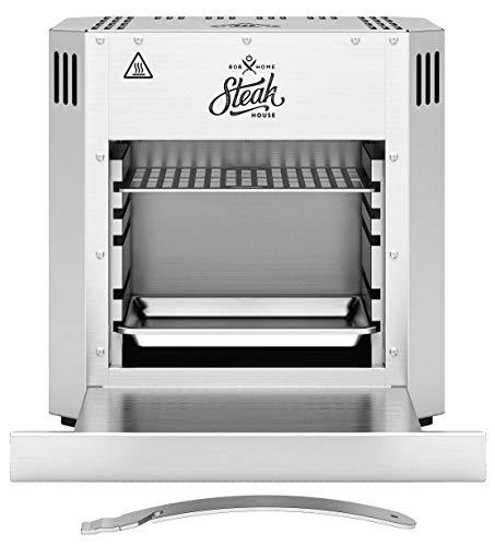 BOB HOME Hochtemperaturgrill STEAK HOUSE - Grill elektrisch, 800 Grad, Hochtemperatur Steakgrill, Edelstahl, höhenverstellbar