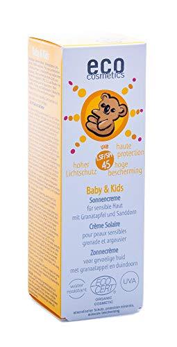 eco cosmetics Baby & Kids Sonnencreme LSF45, wasserfest, vegan, ohne Mikroplastik, Naturkosmetik für Gesicht und Körper, 1 x 50ml