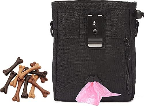 Hunde Futterbeutel, Premium Hundeleckerlitasche mit Verstellbarer Taillen/Schulterriemen Einfache Aufbewahrung für Futter, Tierspielzeug und das Training & die Welpen-Erziehung(schwarz)