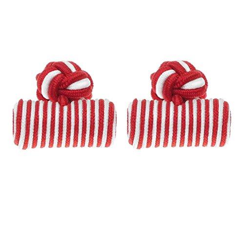 Honey Bear 1 Paar Herren/Damen Seide Stoff Knoten Seidenknoten Zylinder Manschettenknöpfe für Hemd /Kleid zum (rot)