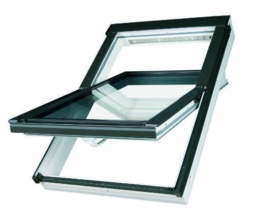 Dachfenster Fakro Schwingfenster 55x98cm Kunststoff mit Dauerlüftung V35 Standardverglasung U3 mit Ziegeleindeckrahmen