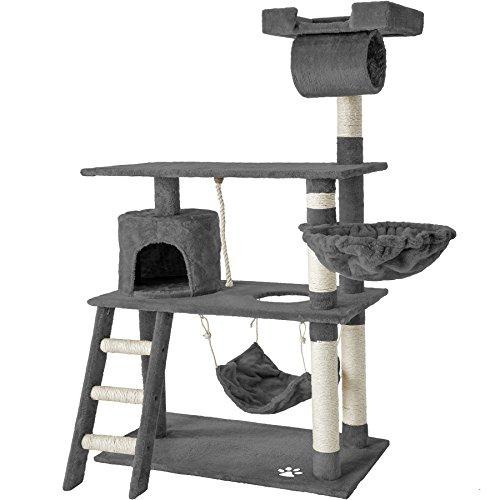 TecTake 800294 Katzen Kratzbaum mit vielen Kuschel- und Spielmöglichkeiten, 141cm hoch, extra breit - Diverse Farben - (Grau   Nr. 401853)