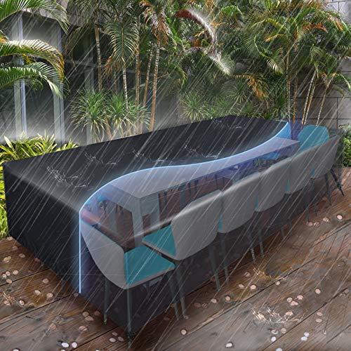 Essort Gartenmöbel Abdeckung, Abdeckplane Schutzhülle Abdeckhaube Regenschutz für Gartenmöbel Gartentische Rechteckige Sitzgarnituren terrassenmöbel Möbelsets Wasserdicht (315x160x74cm)