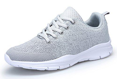 DAFENP Sportschuhe Laufschuhe Atmungsaktiv Leichte Turnschuhe Gym Fitness Sneaker für Herren Damen (43 EU, Grau)