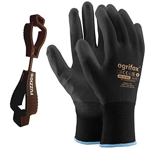 24 Paar Ogrifox PU besichtet Arbeitshandschuhe mit FUZZIO Handschuh-Klammer (S-7, Schwarz)