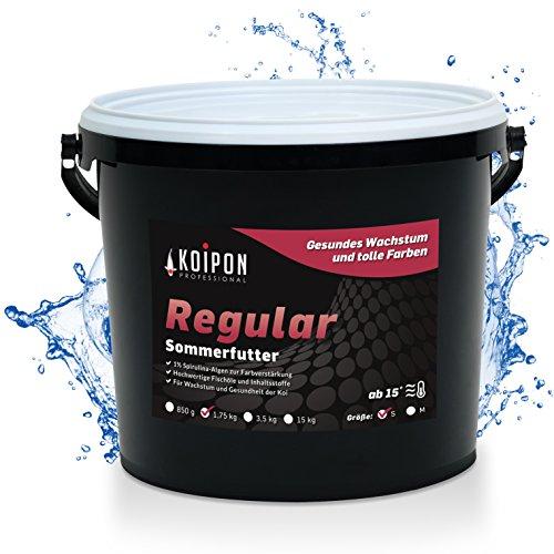 KOIPON Regular Koifutter Sommer schwimmend, 1% Spirulina, Teichfutter 3mm Pellets für japanische Koi, Koifutter 1,75 kg, als Goldfischfutter geeignet